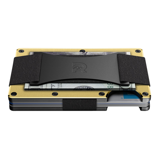 The Ridge Aluminium Cash Strap Wallet (Gold) - Side View