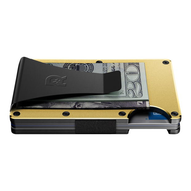 The Ridge Aluminium Money Clip Wallet (Gold) - Side View