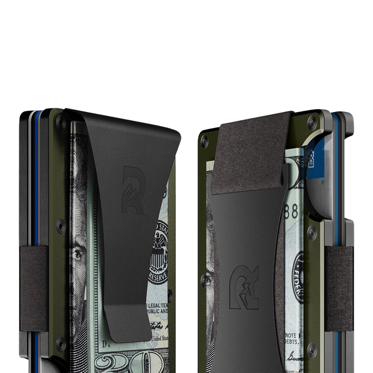 The Ridge Aluminium Money Clip Wallet (OD Green) - Cash Strap & Money Clip