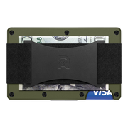 The Ridge Aluminium Cash Strap Wallet (OD Green) - Back View