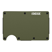 The Ridge Aluminium Money Clip Wallet (OD Green) - Front View