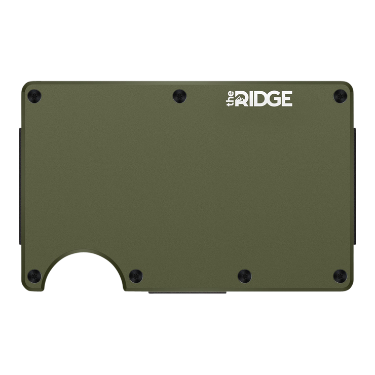 The Ridge Aluminium Cash Strap Wallet (OD Green) - Front View