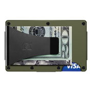 The Ridge Aluminium Money Clip Wallet (OD Green) - Back View
