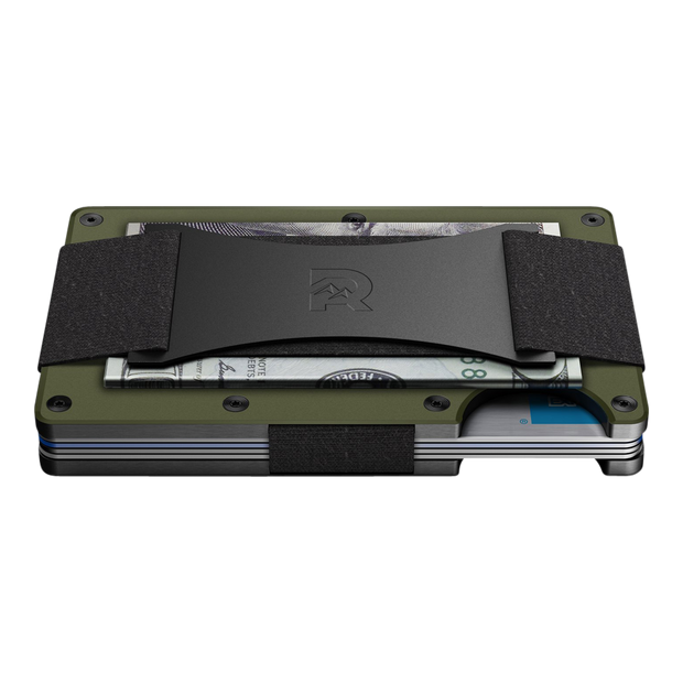 The Ridge Aluminium Cash Strap Wallet (OD Green) - Side View