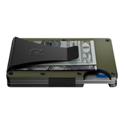The Ridge Aluminium Money Clip Wallet (OD Green) - Side View