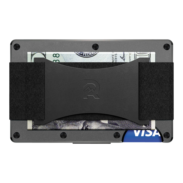 The Ridge Aluminium Cash Strap Wallet (Gunmetal) - Back View