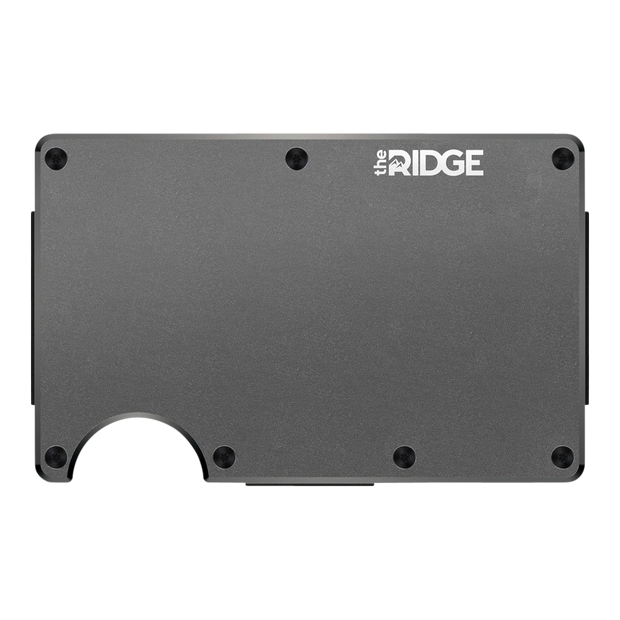 The Ridge Aluminium Money Clip Wallet (Gunmetal) - Front View