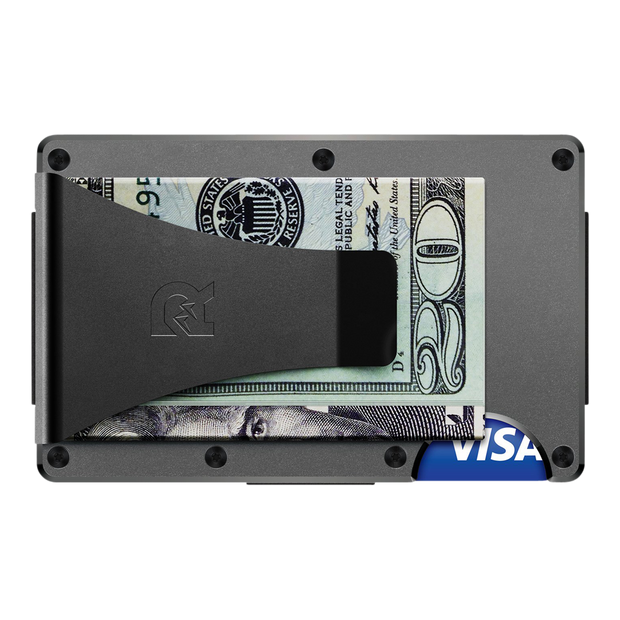 The Ridge Aluminium Cash Strap & Money Clip Wallet (Gunmetal) - Money Clip Back View