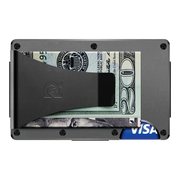 The Ridge Aluminium Money Clip Wallet (Gunmetal) - Back View