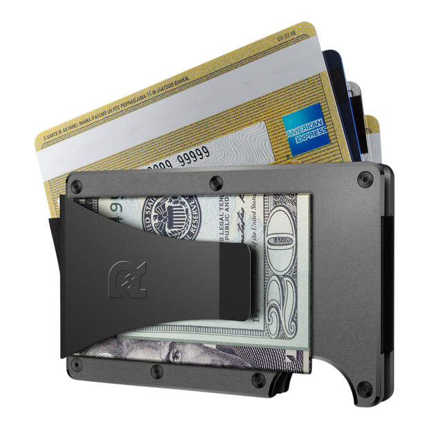 The Ridge Aluminium Cash Strap & Money Clip Wallet (Gunmetal) - Money Clip