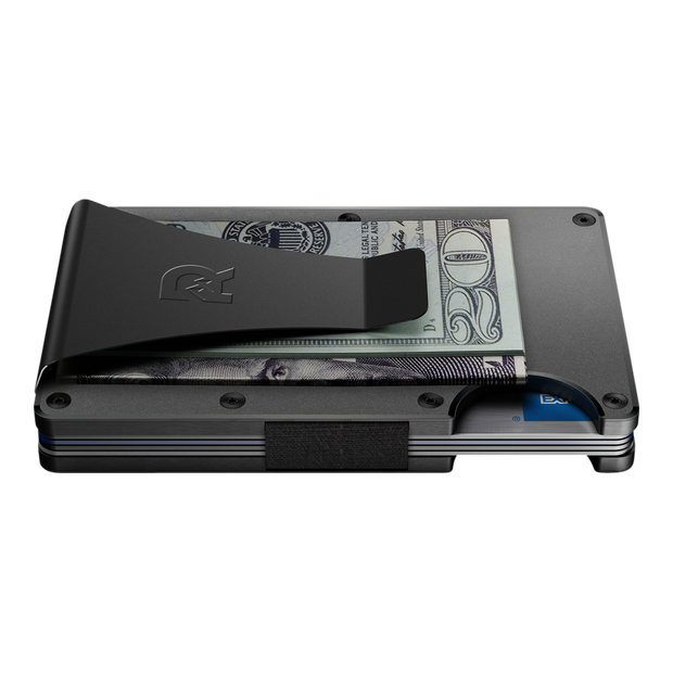 The Ridge Aluminium Money Clip Wallet (Gunmetal) - Side View