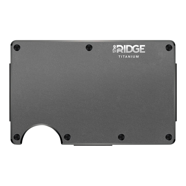 The Ridge Titanium Money Clip Wallet (Gunmetal) - Front View