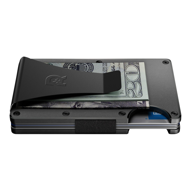 The Ridge Titanium Money Clip Wallet (Gunmetal) - Side View