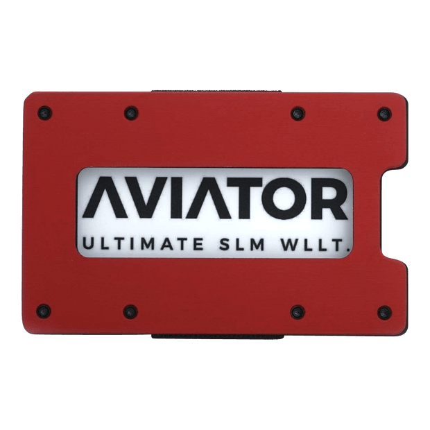 Aviator Aluminium Cash Strap Slim Wallet (Imola Red) - Front View
