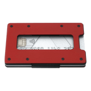 Aviator Aluminium Cash Strap Slim Wallet (Imola Red) - Angled View