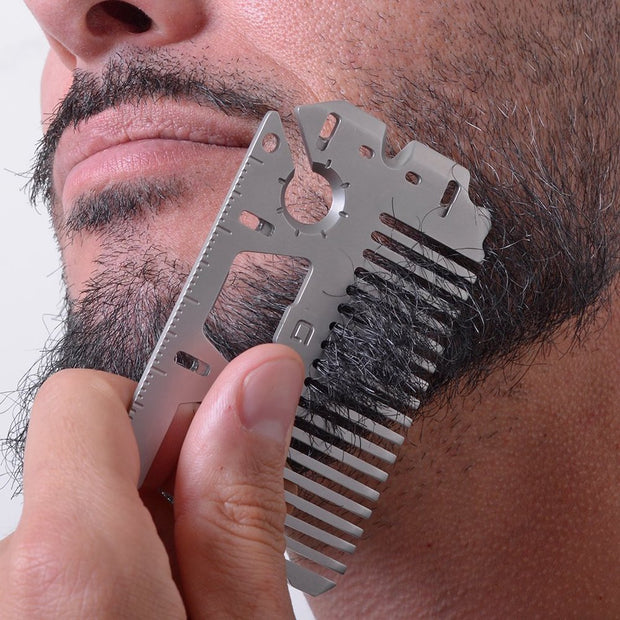 Dango MT03 Money Clip & Comb Multi-Tool - Beard Comb In Use
