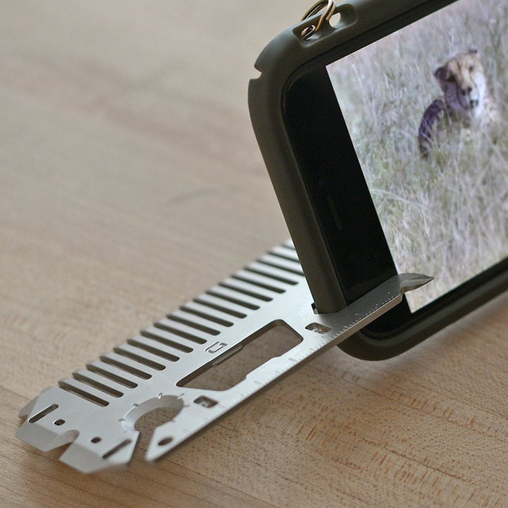 Dango MT03 Money Clip & Comb Multi-Tool - Phone Stand In Use