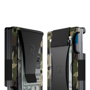 The Ridge Aluminium Cash Strap Wallet (Woodland Camo) - Cash Strap & Money Clip