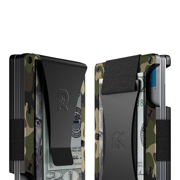 The Ridge Aluminium Money Clip Wallet (Woodland Camo) - Cash Strap & Money Clip