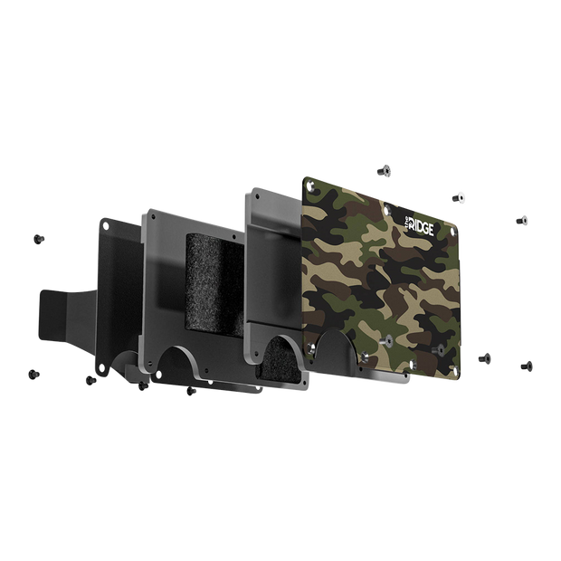 The Ridge Aluminium Money Clip Wallet (Woodland Camo) - Exploded View