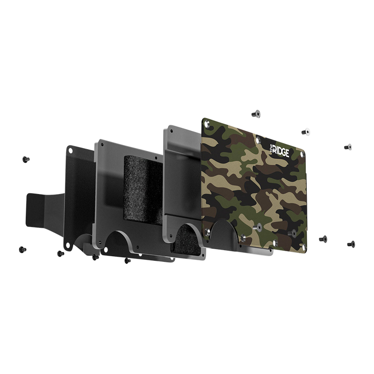 The Ridge Aluminium Cash Strap Wallet (Woodland Camo) - Exploded View