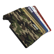 The Ridge Aluminium Cash Strap Wallet (Woodland Camo) - Cards Fanned
