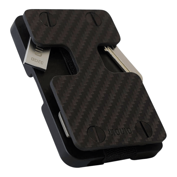 Liquid Carry Carbon Fibre Wallet (Black Screws) - Bottle Opener & USB Stick
