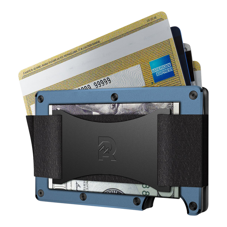 The Ridge Titanium Cash Strap Wallet (Matte Cobalt) - Cash Strap