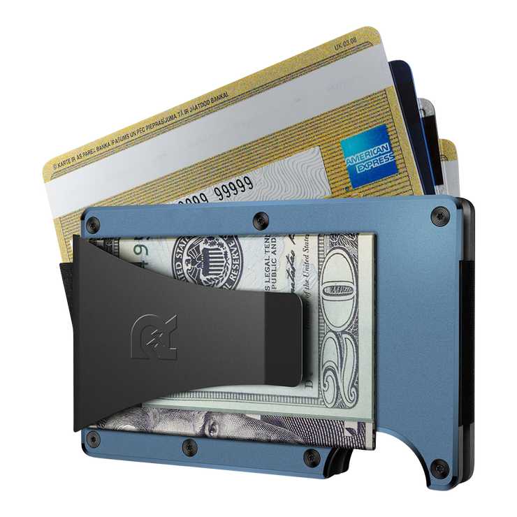 The Ridge Titanium Money Clip Wallet (Matte Cobalt) - Money Clip