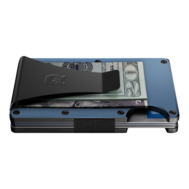 The Ridge Titanium Money Clip Wallet (Matte Cobalt) - Side View