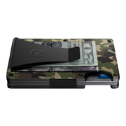 The Ridge Aluminium Money Clip Wallet (Woodland Camo) - Side View