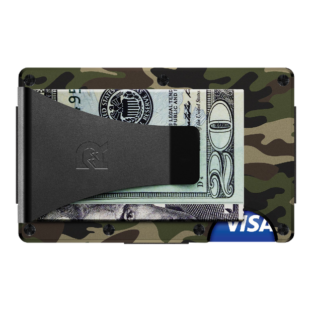 The Ridge Aluminium Money Clip Wallet (Woodland Camo) - Back View