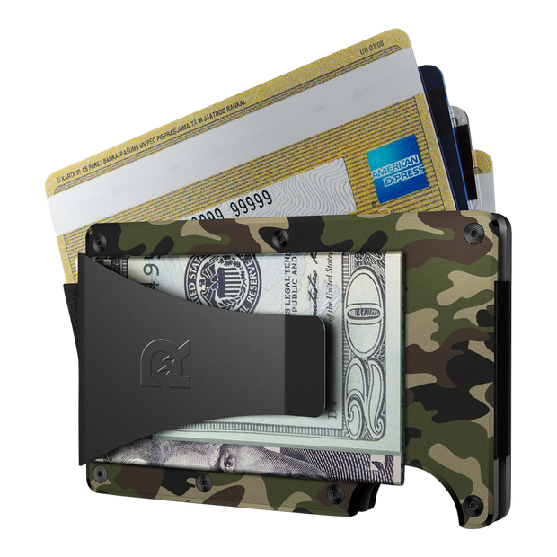 The Ridge Aluminium Money Clip Wallet (Woodland Camo) - Money Clip