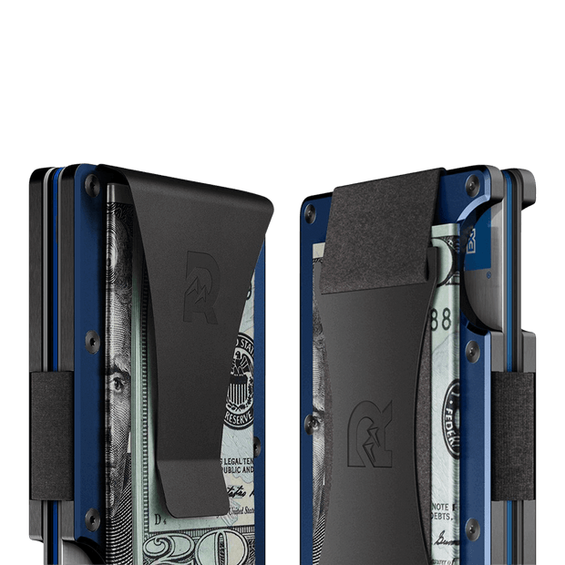 The Ridge Aluminium Money Clip Wallet (Navy) - Cash Strap & Money Clip