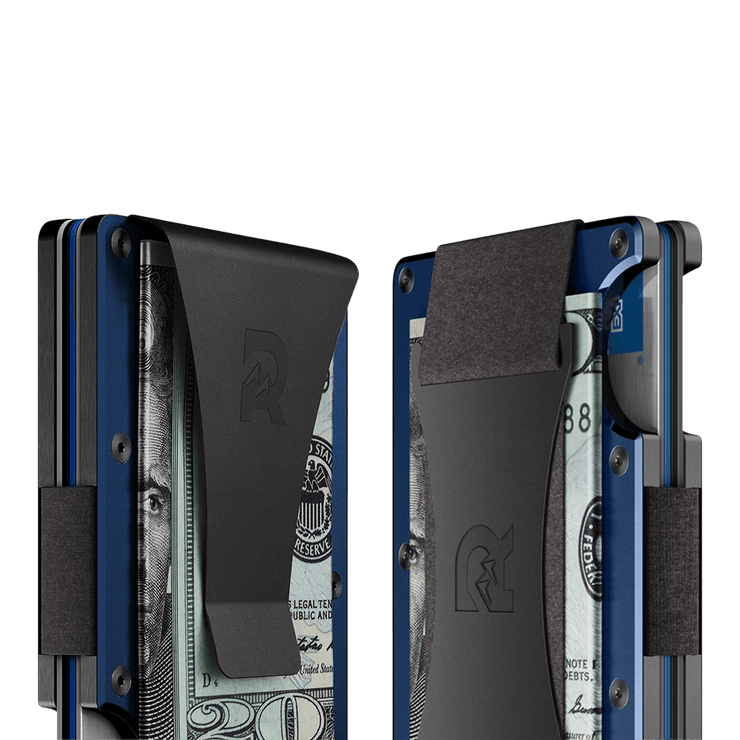 The Ridge Aluminium Cash Strap Wallet (Navy) - Cash Strap & Money Clip