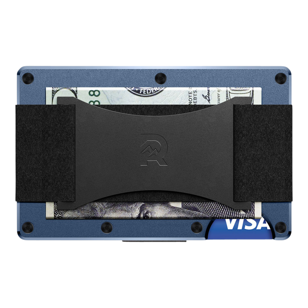 The Ridge Aluminium Cash Strap Wallet (Navy) - Back View