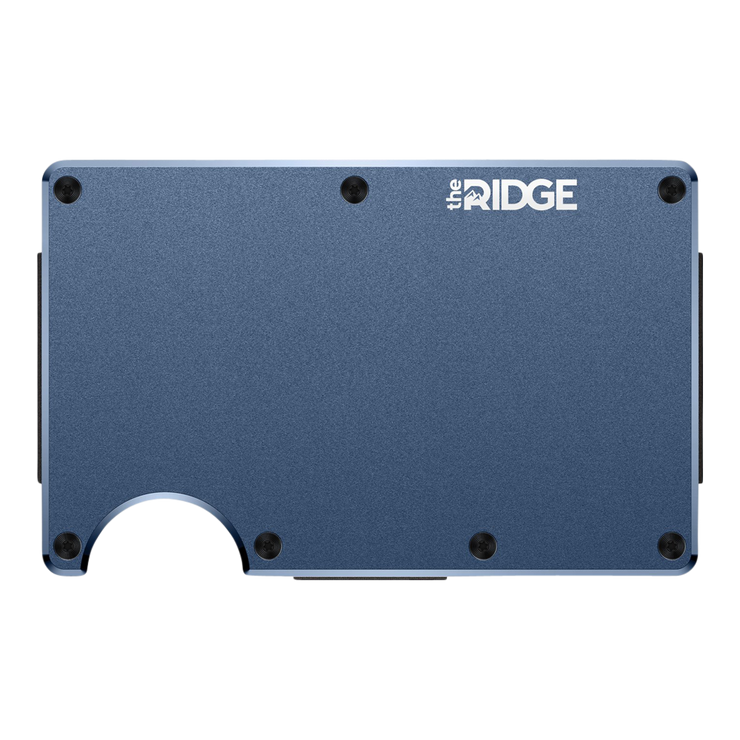 The Ridge Aluminium Money Clip Wallet (Navy) - Front View