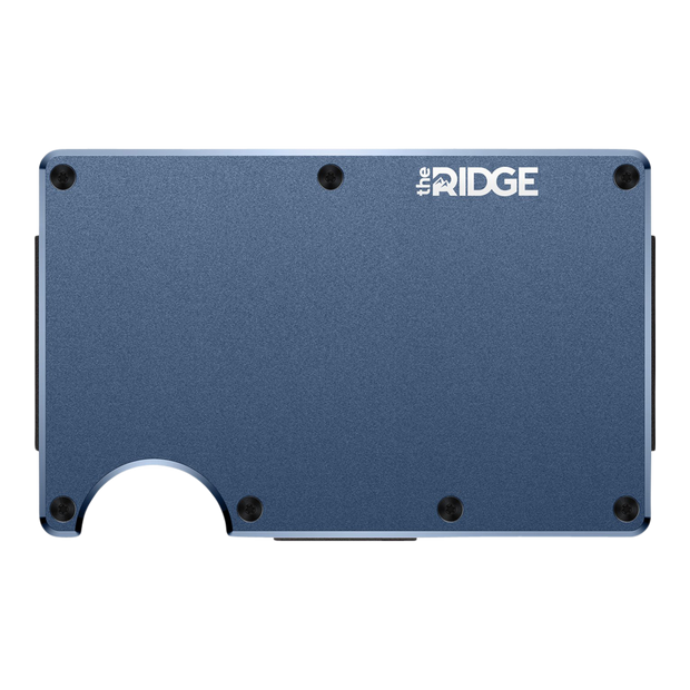 The Ridge Aluminium Cash Strap Wallet (Navy) - Front View