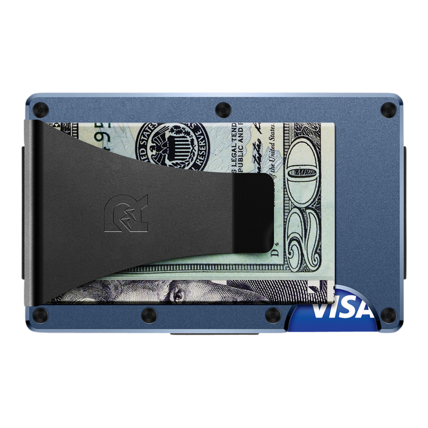 The Ridge Aluminium Money Clip Wallet (Navy) - Back View