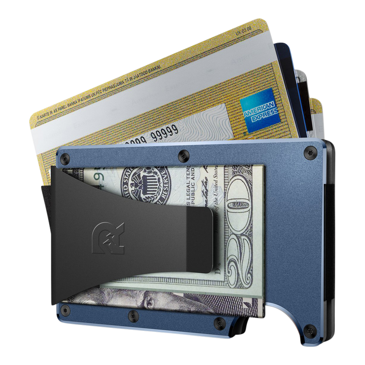 The Ridge Aluminium Money Clip Wallet (Navy) - Money Clip