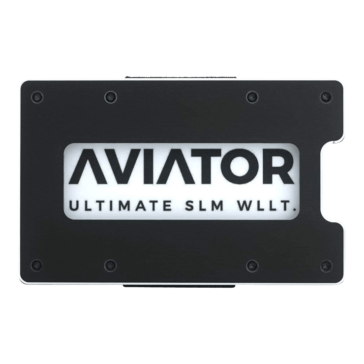 Aviator Aluminium Cash Strap Slim Wallet (Obsidian Black) - Front View