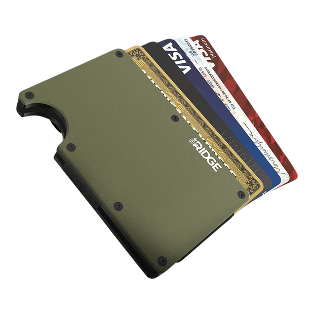The Ridge Aluminium Money Clip Wallet (OD Green) - Cards Fanned