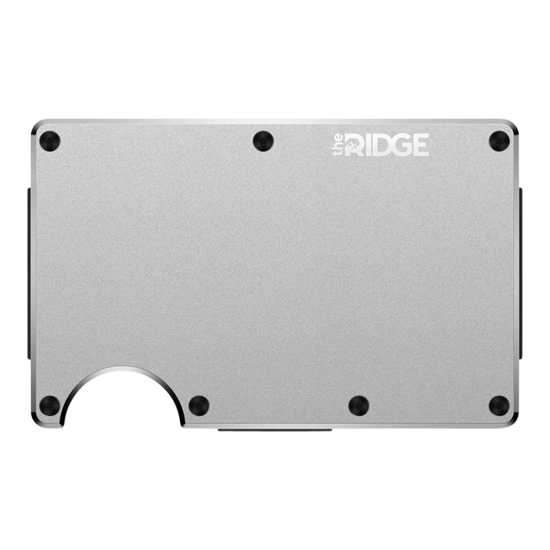 The Ridge Aluminium Money Clip Wallet (Raw) - Front View