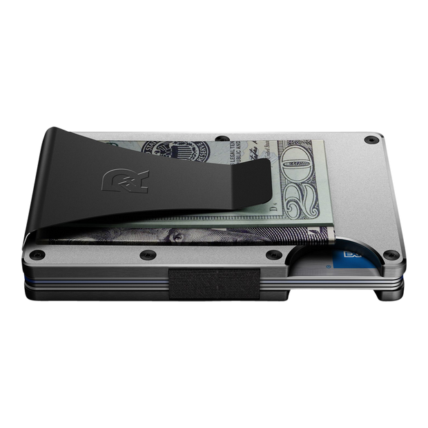 The Ridge Aluminium Money Clip Wallet (Raw) - Side View