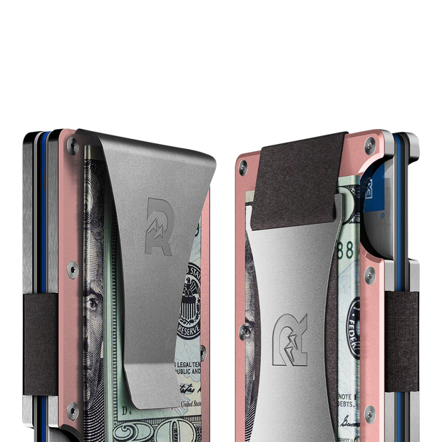 The Ridge Aluminium Money Clip Wallet (Rose Gold) - Cash Strap & Money Clip