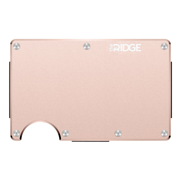 The Ridge Aluminium Cash Strap Wallet (Rose Gold) - Front View