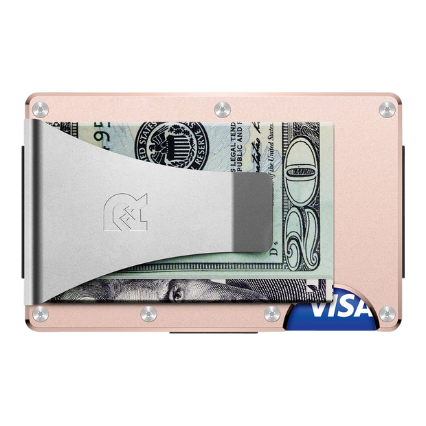 The Ridge Aluminium Money Clip Wallet (Rose Gold) - Back View