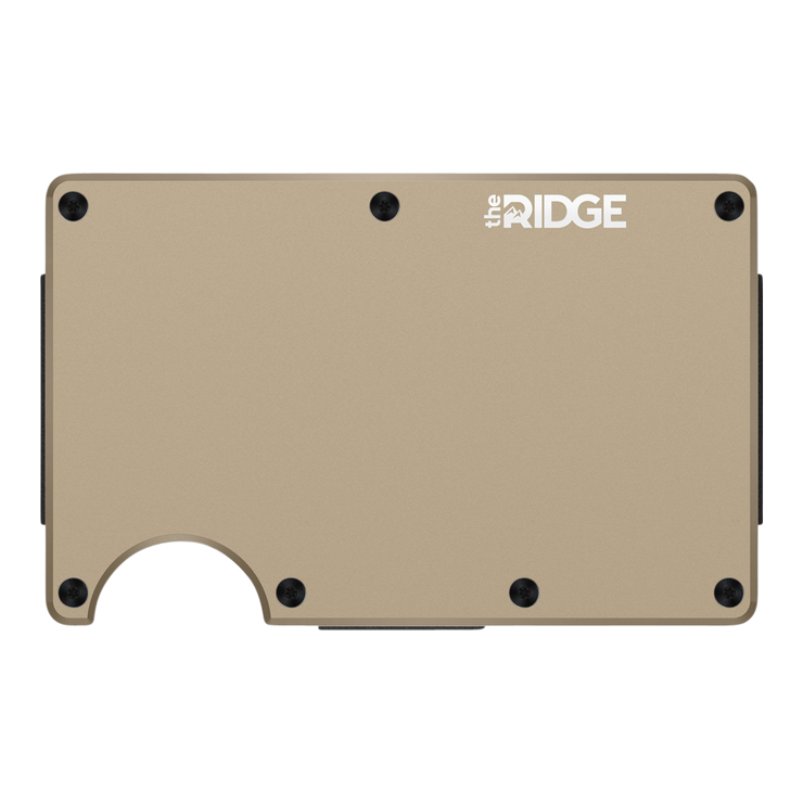 The Ridge Aluminium Cash Strap Wallet (Desert Tan) - Front View