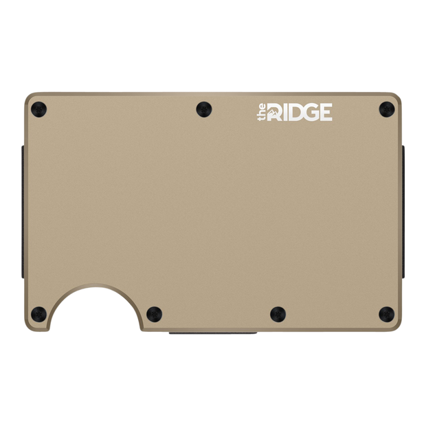 The Ridge Aluminium Money Clip Wallet (Desert Tan) - Front View