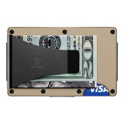 The Ridge Aluminium Money Clip Wallet (Desert Tan) - Back View